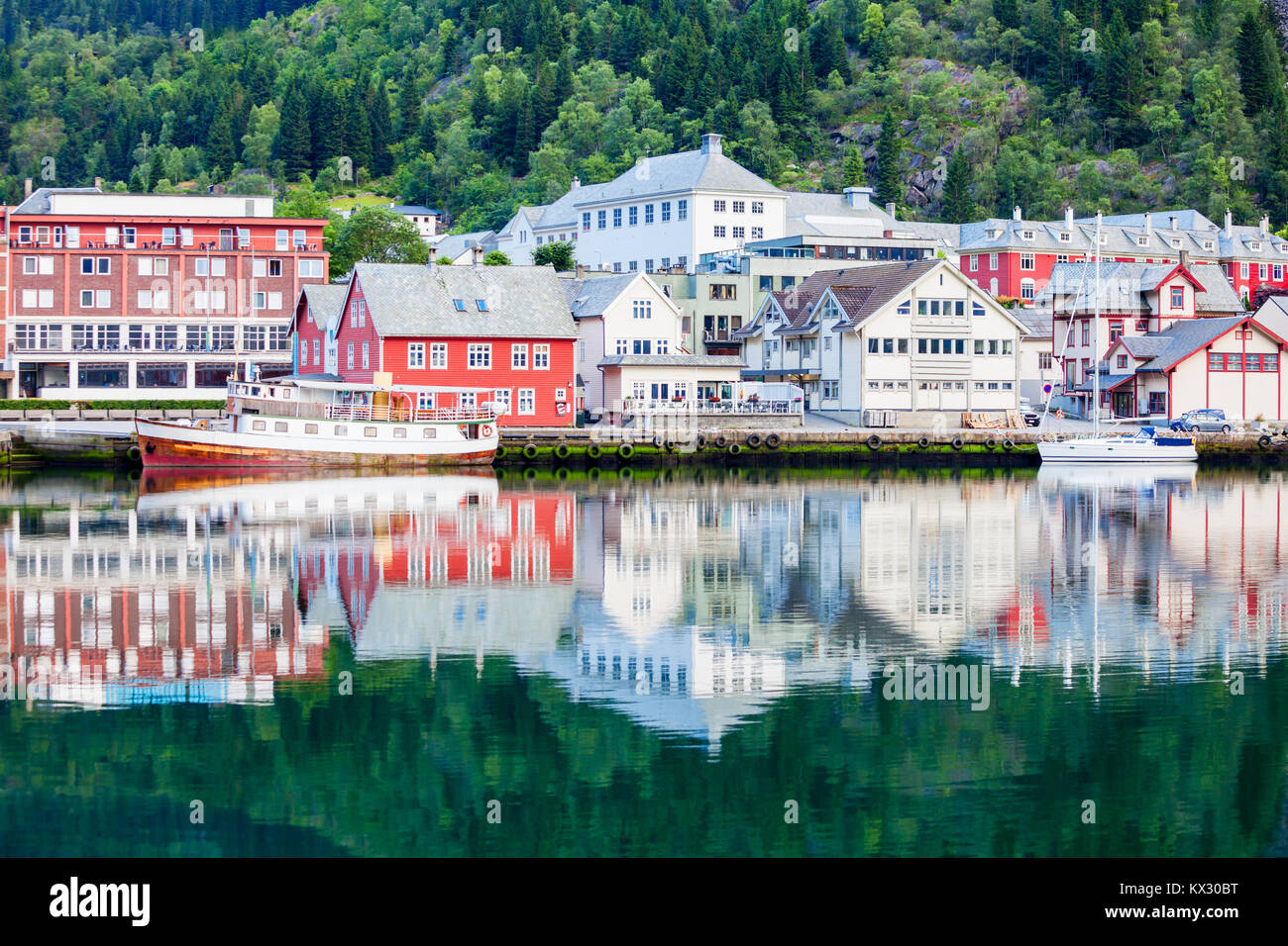 Odda is a town in Odda municipality in Hordaland county, Hardanger district in Norway. Located near Trolltunga rock - Stock Image