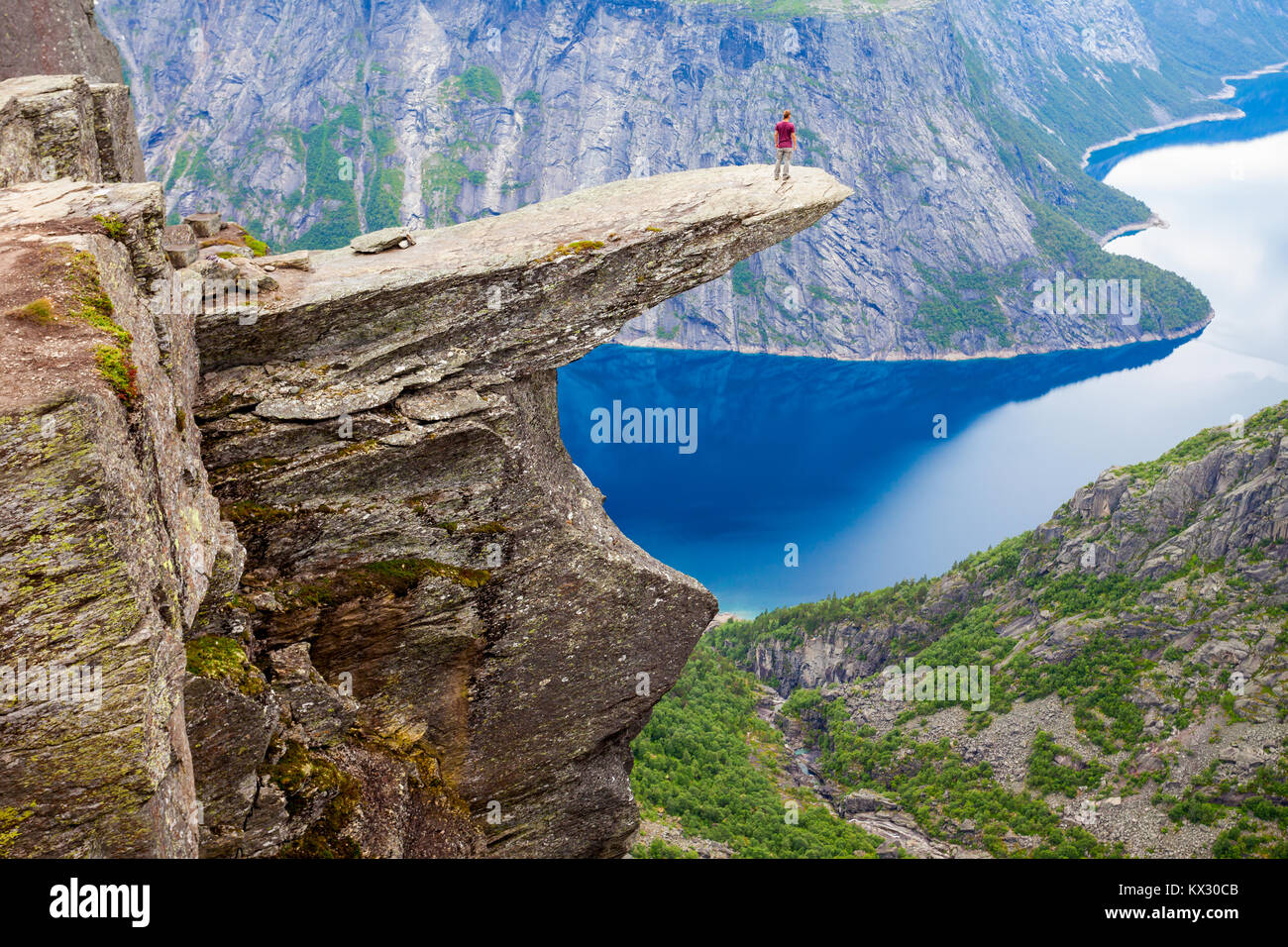 Trolltunga or Troll Tongue is a rock formation  at the Hardangerfjord near Odda town in Hordaland, Norway - Stock Image