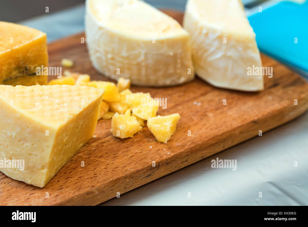 Close-up of homemade cheese at country fair - Stock Image