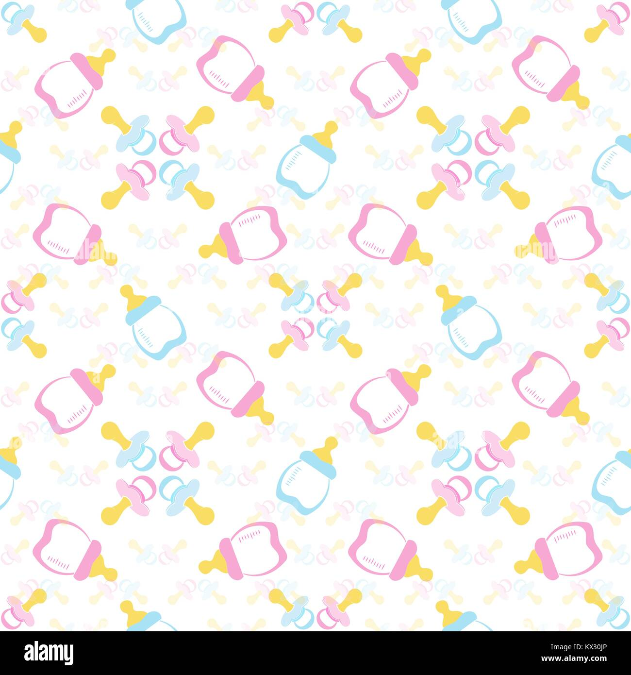 Baby bottle and Baby's dummy. Comforter seamless pattern background. Kids seamless pattern. EPS 10 - Stock Vector