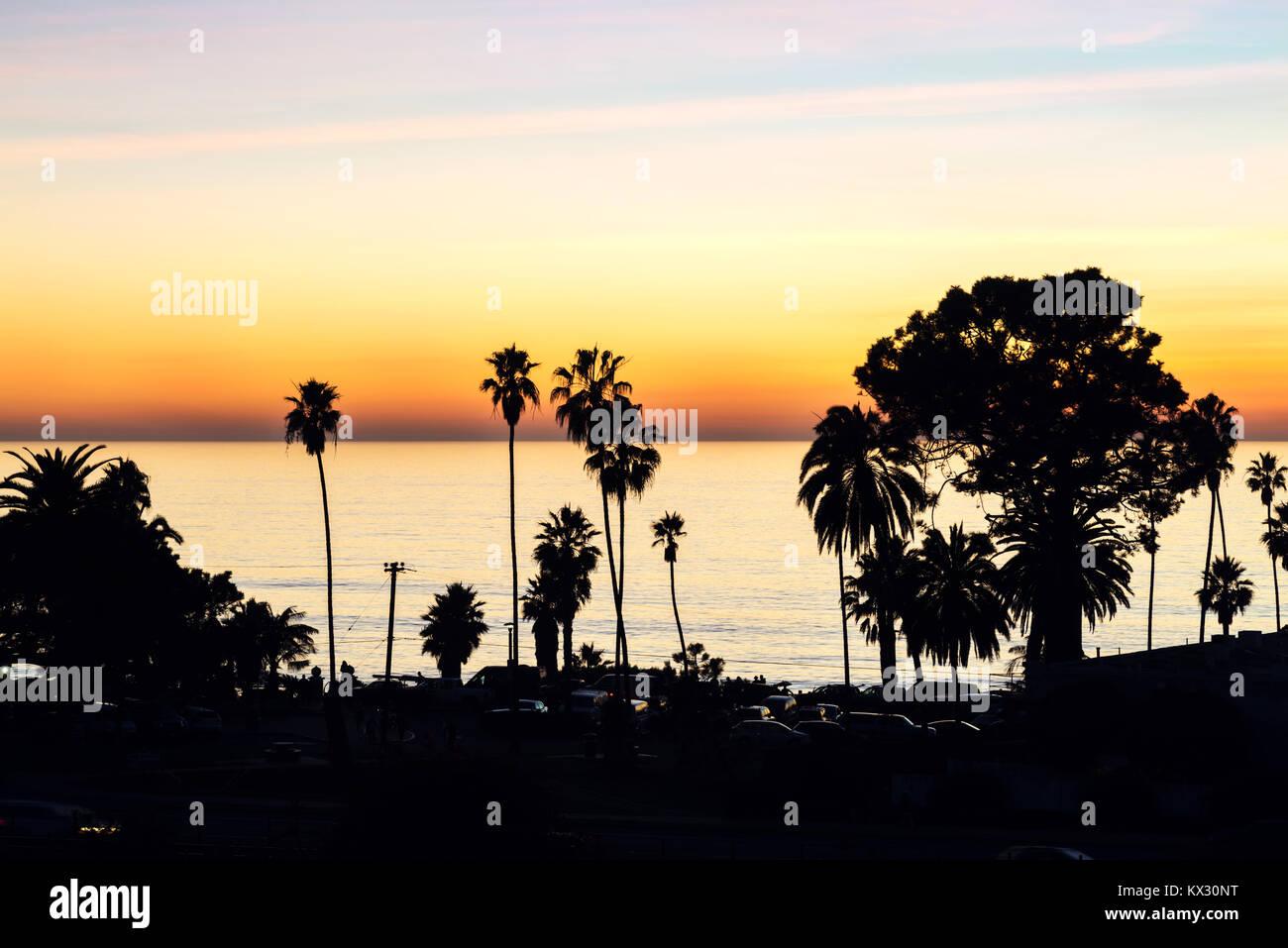 Looking down on the coastal city of Encinitas, California. - Stock Image