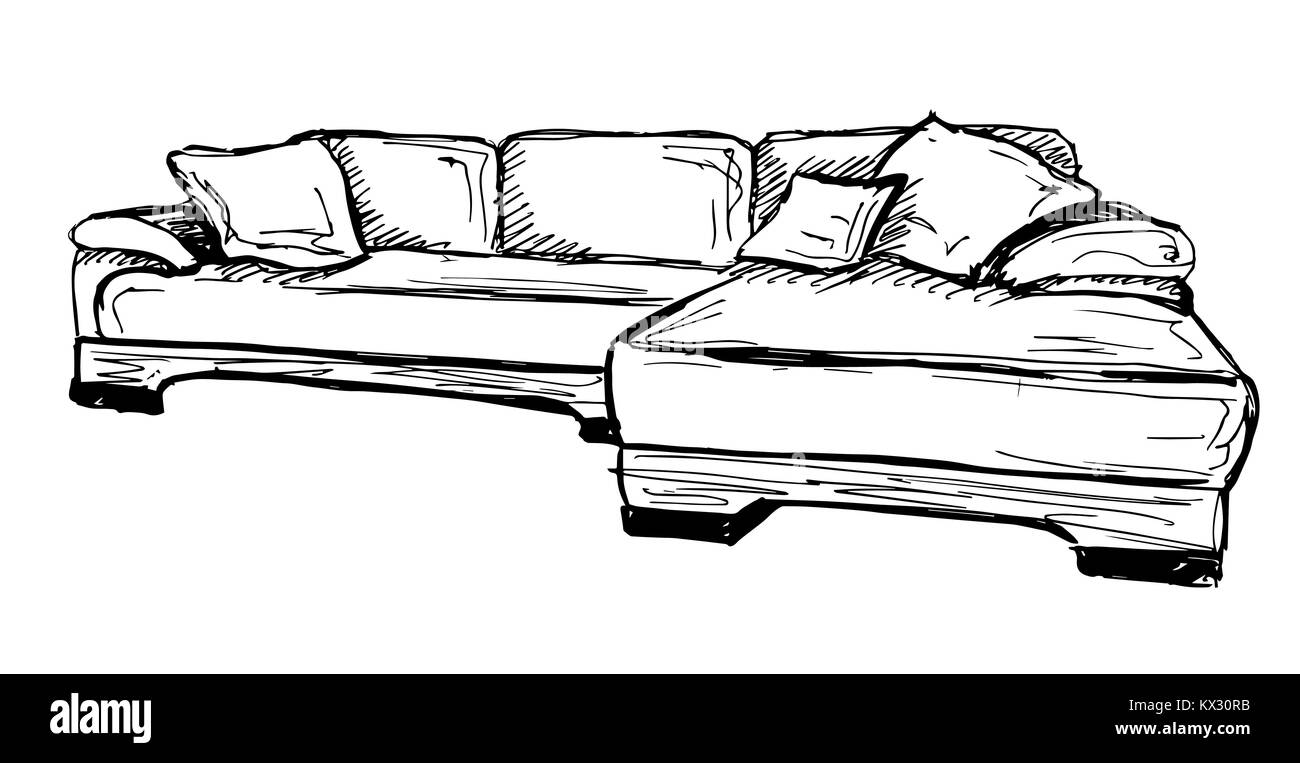 Sofa Vector Sketch Icon Isolated On Background Stock Vector Art