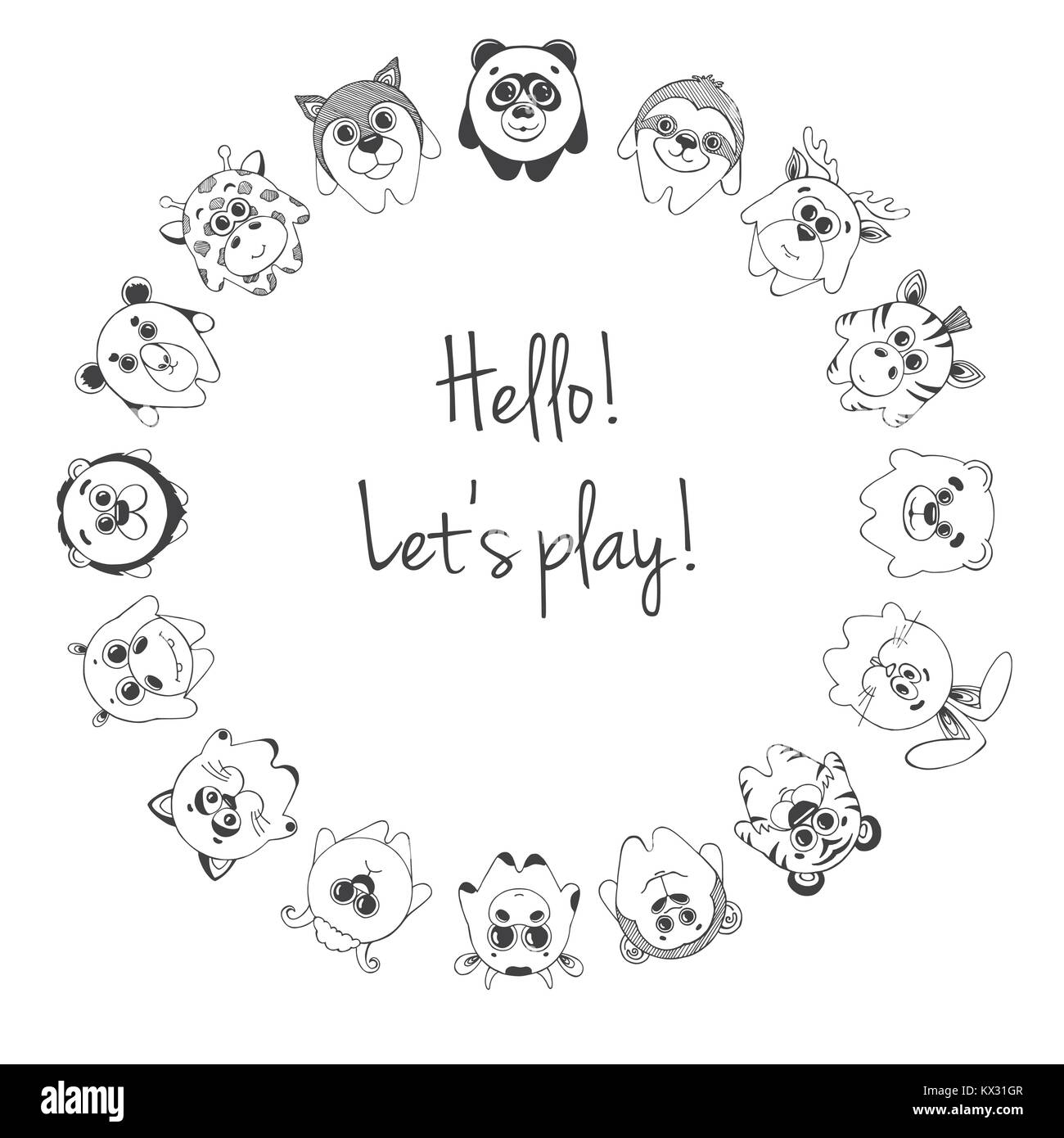 Different cute animals stand in a circle. Inscription Hello, Let's play. Children's pattern for decoration. - Stock Image