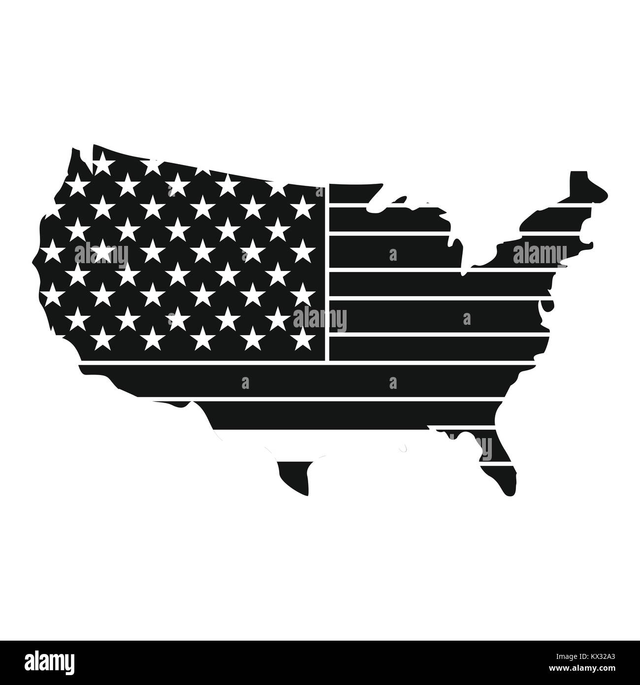 American Map Vector.American Map Icon Simple Style Stock Vector Art Illustration