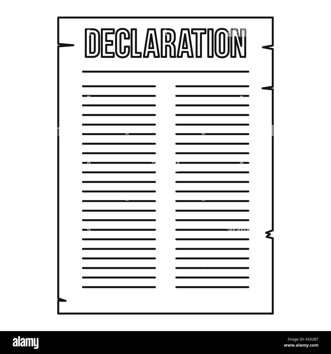 Declaration of independence icon, outline style - Stock Image