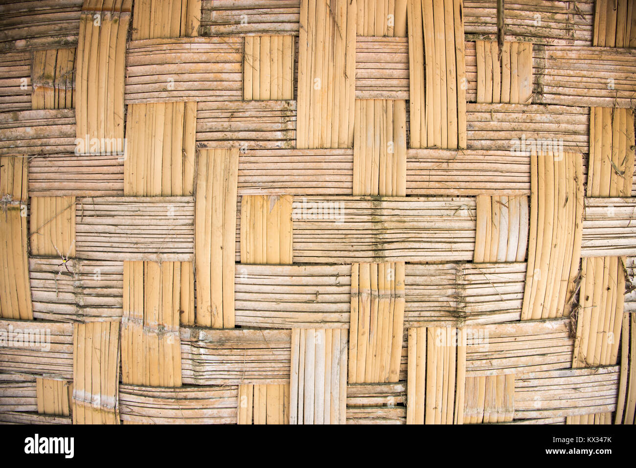 Close up of woven grass hut wall exterior on Mystery Island, Vanuatu - Stock Image