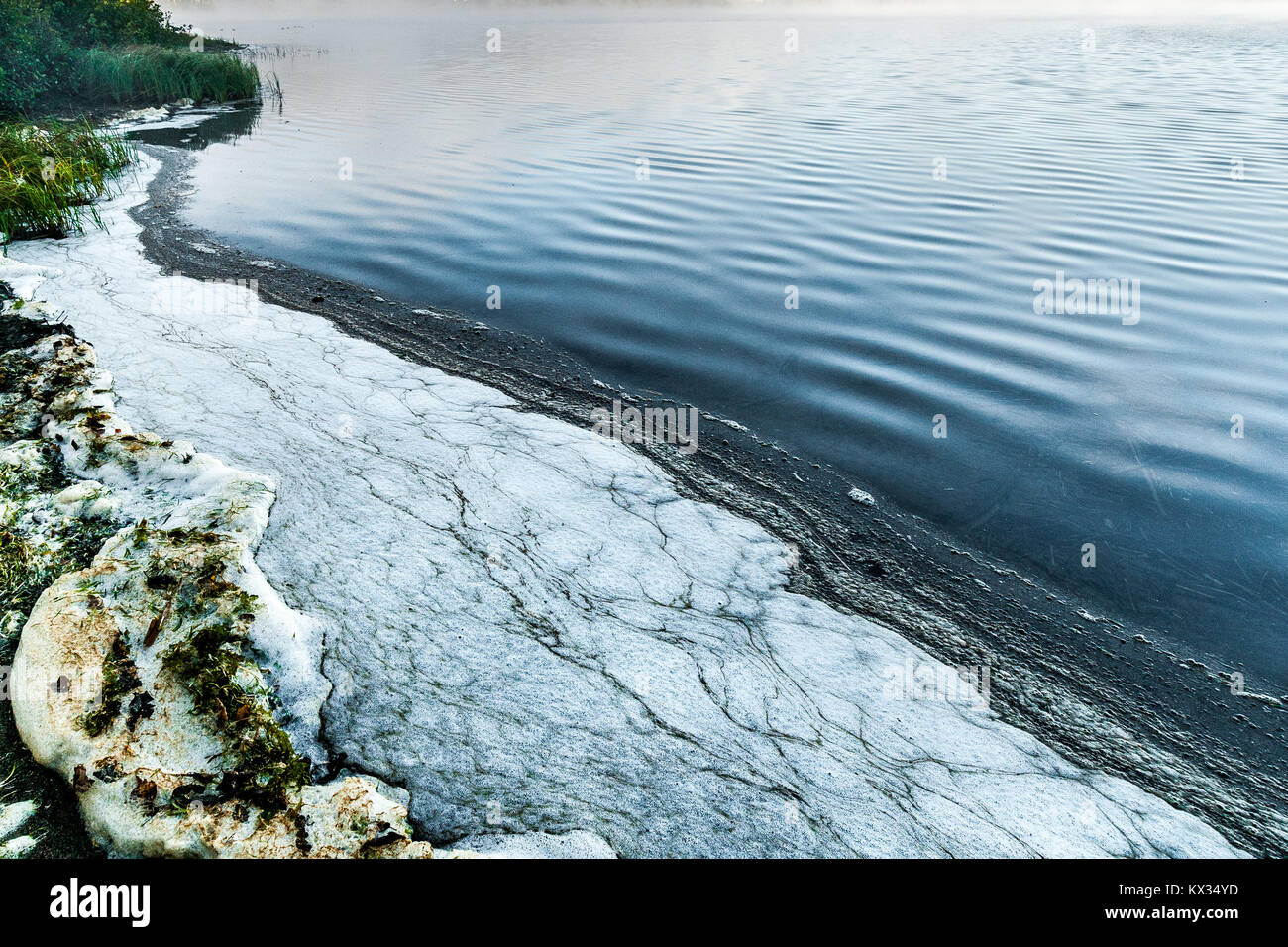 Pollution foam on the shore of a lake in Quebec, Canada - Stock Image