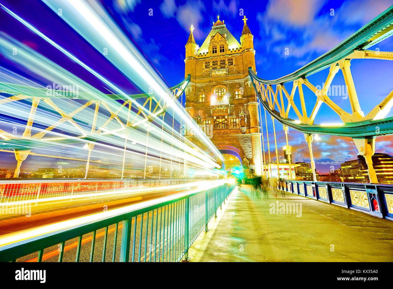 View of Tower Bridge in London at night - Stock Image