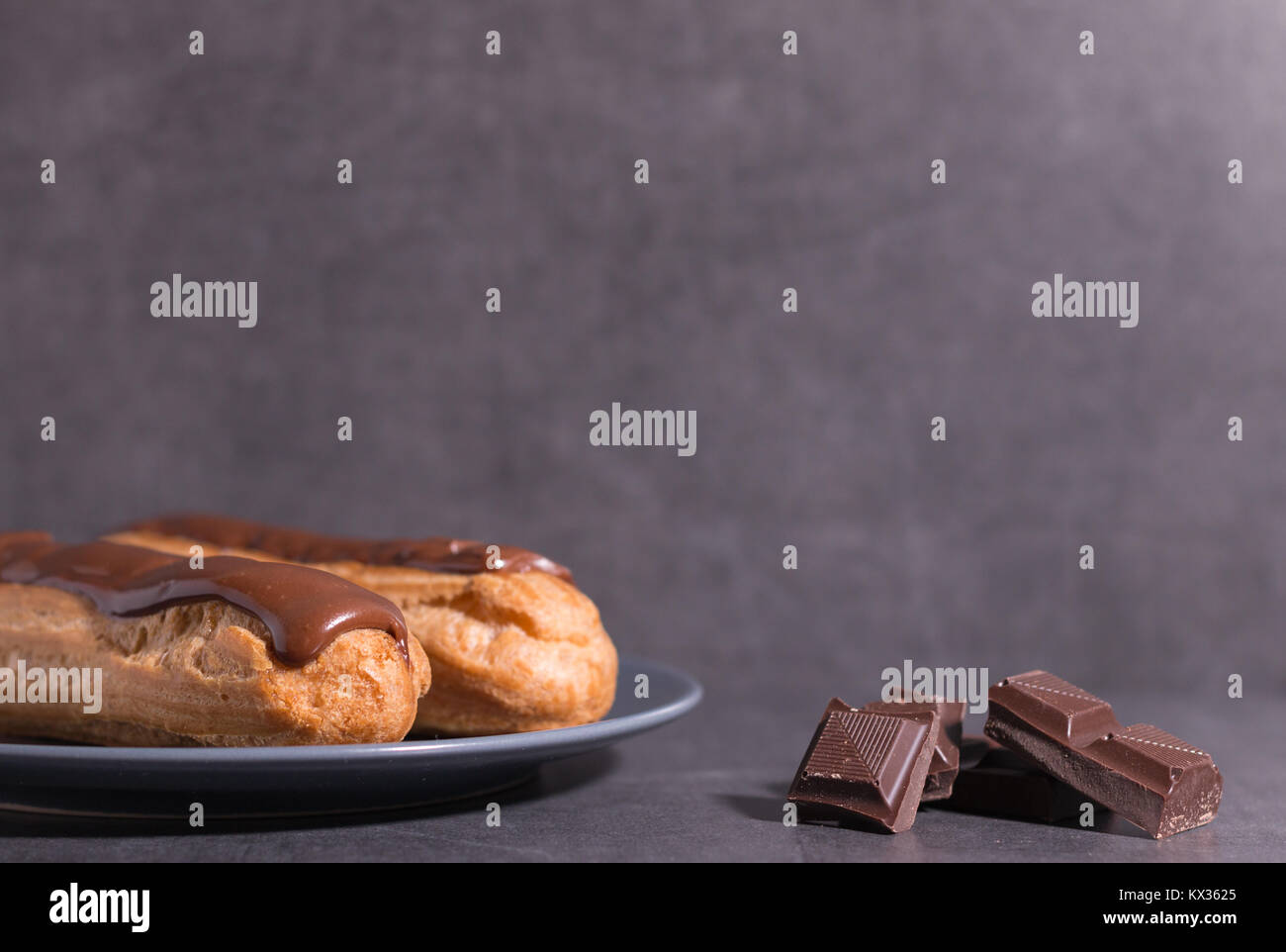 home backed eclairs - Stock Image