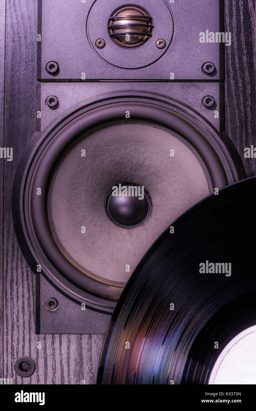 Vinyl Record In Front Of Single Black Speaker Cabinet From ...