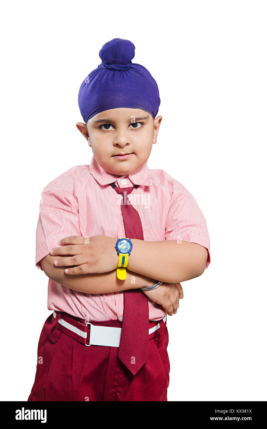 047d029f Attitude 1 Indian Kid Punjabi Boy Student Arms Crossed Standing - Stock  Image