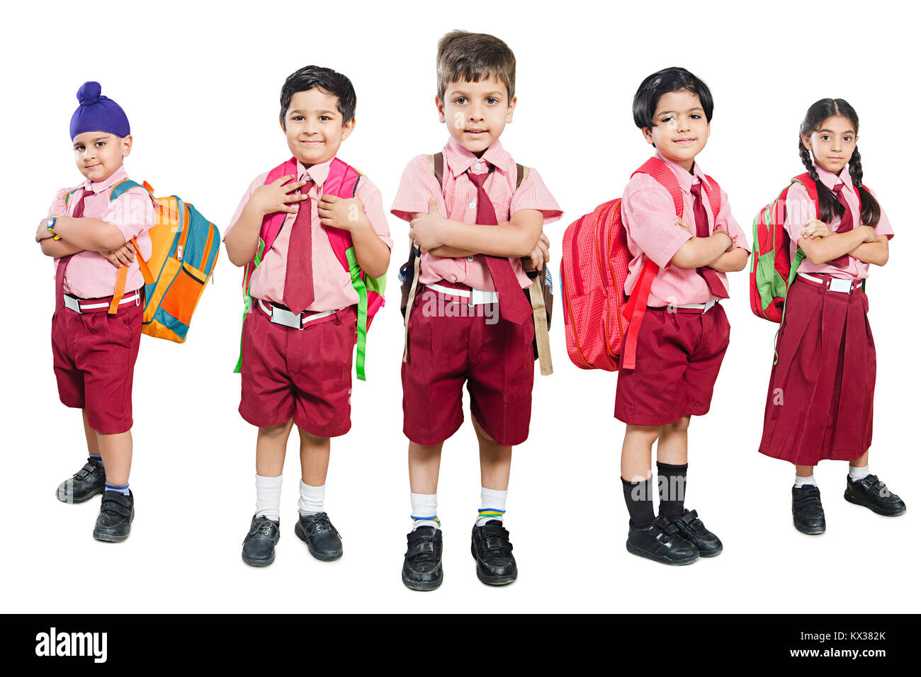 Group Indian School Kids Students Friends Arms Crossed Together Stock Photo Alamy