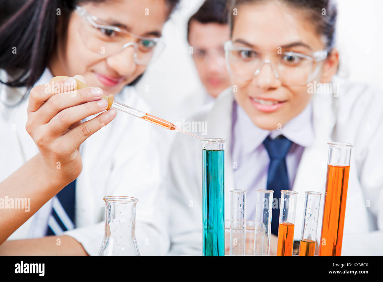 2 Indian School Girls Students Research Chemical Liquid Science Lab