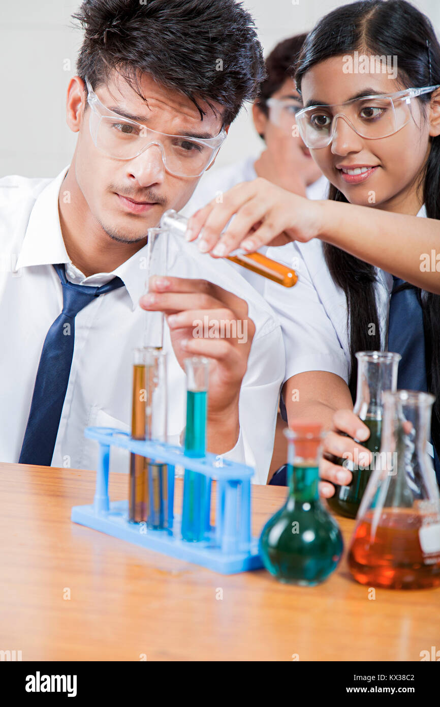 Indian School Chemistry Lab Research Students Working In Class Together
