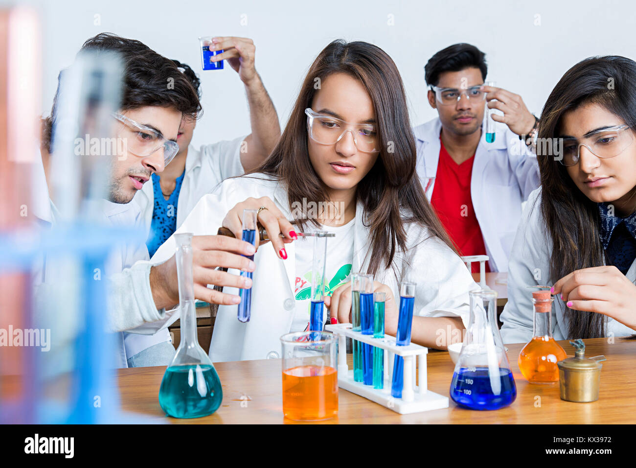 Indian Science Students Friends Scientist s Chemistry Lab