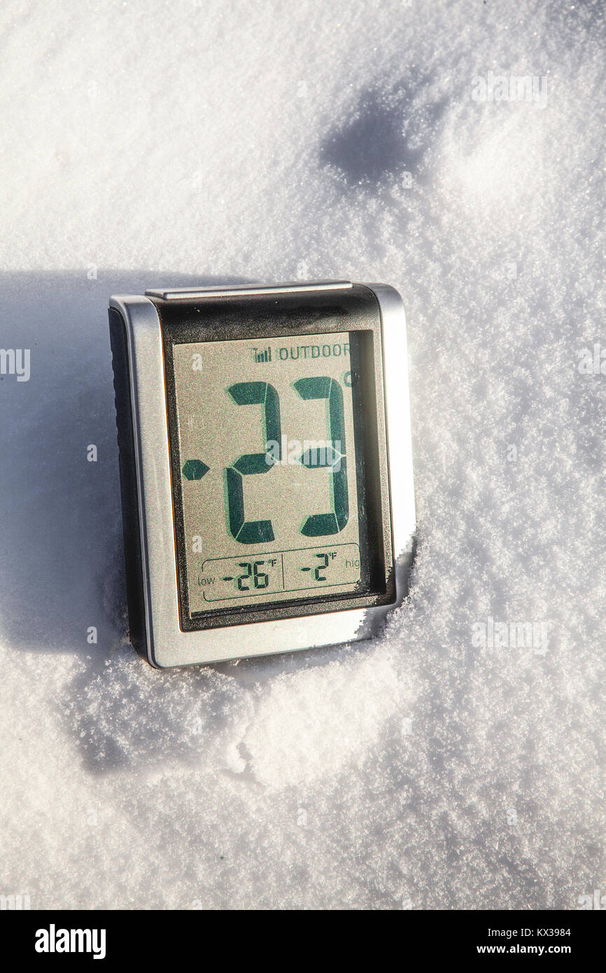 Brutally cold temperatures of -23F/-30.5C. - Stock Image