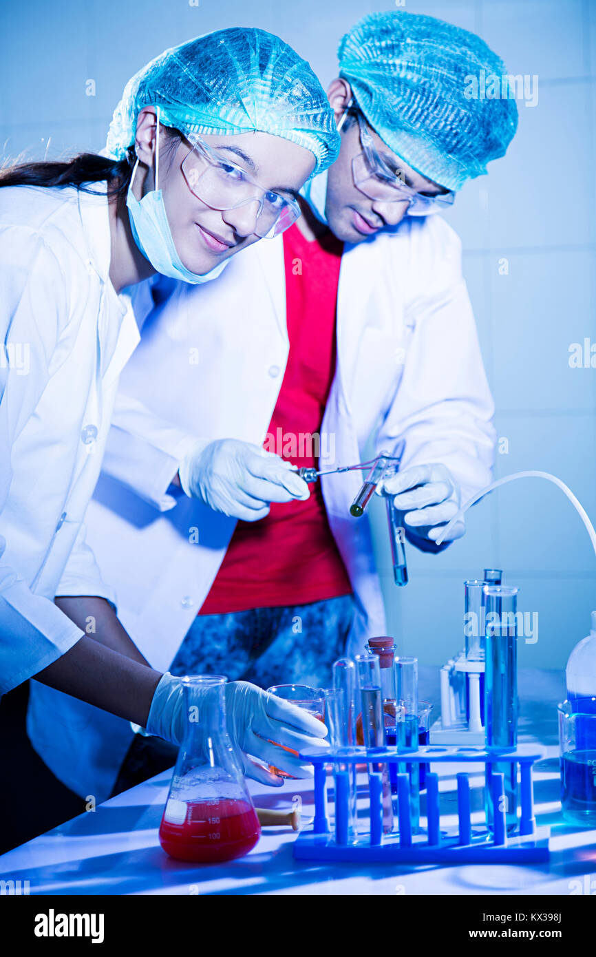 2 Indian Science Students Chemistry Laboratory Chemical Test Tube Research