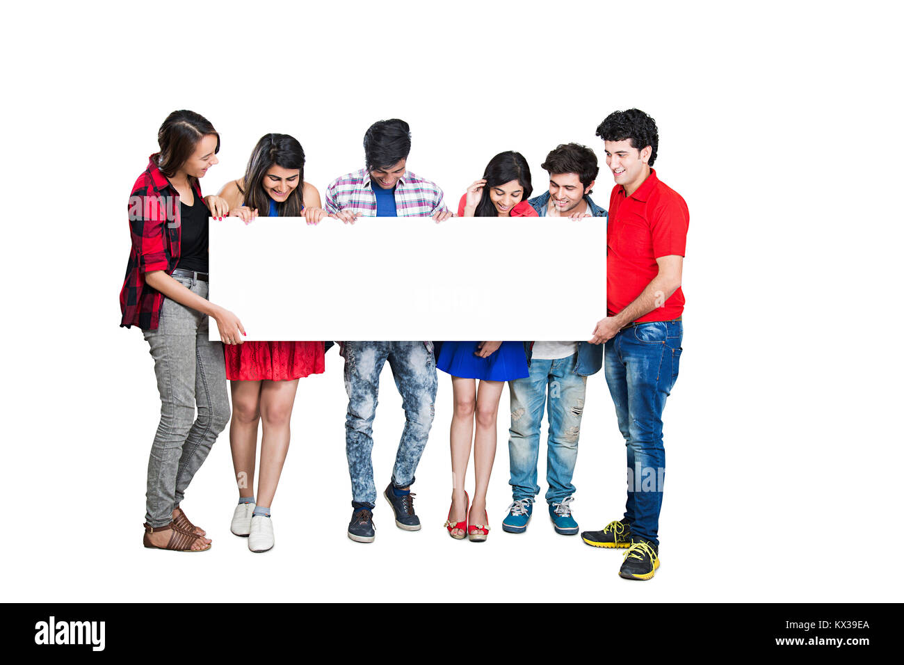 Indian Group College Student s Classmate s Together Holding Message Baord Watching - Stock Image