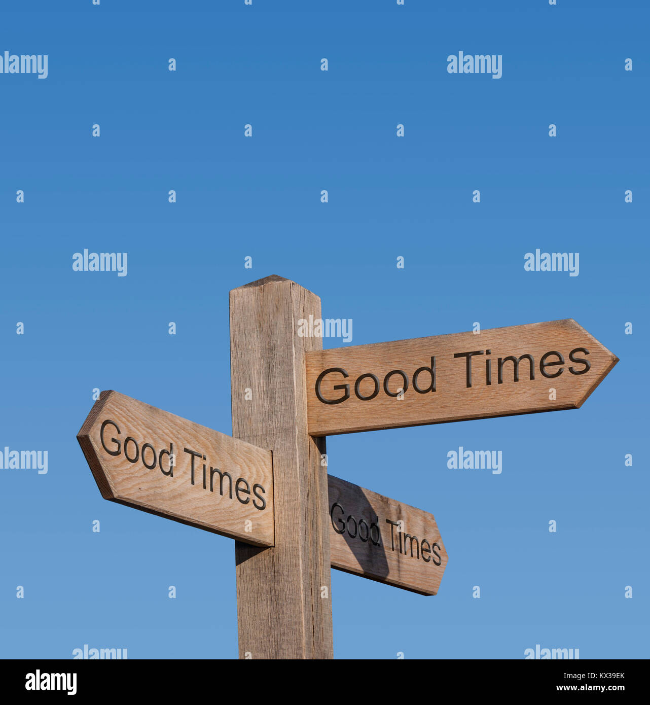 Signpost directions showing Good Times in every direction. Good times all the way. - Stock Image