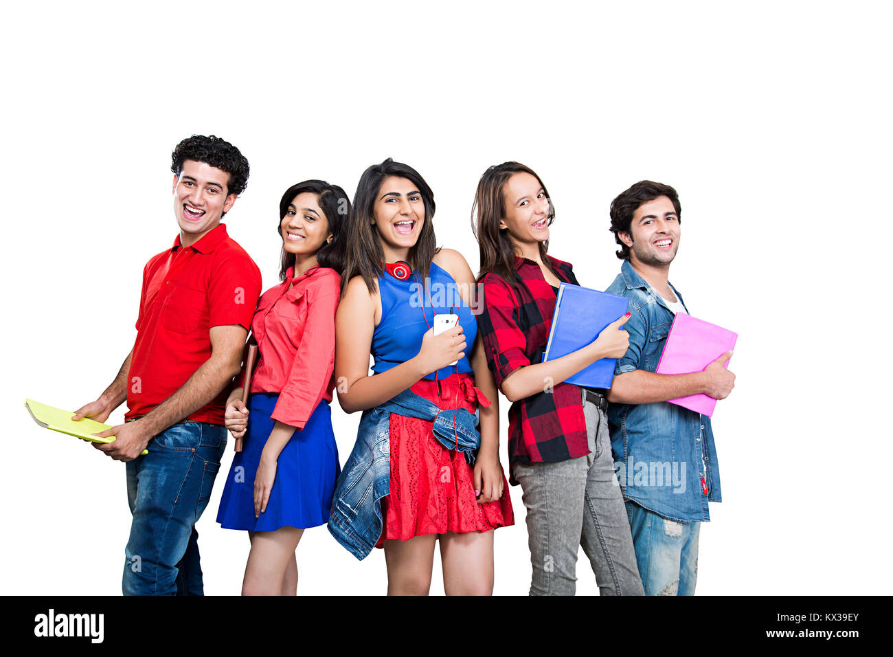 Indian Group College Student S Friends Standing Together Holding Book Education