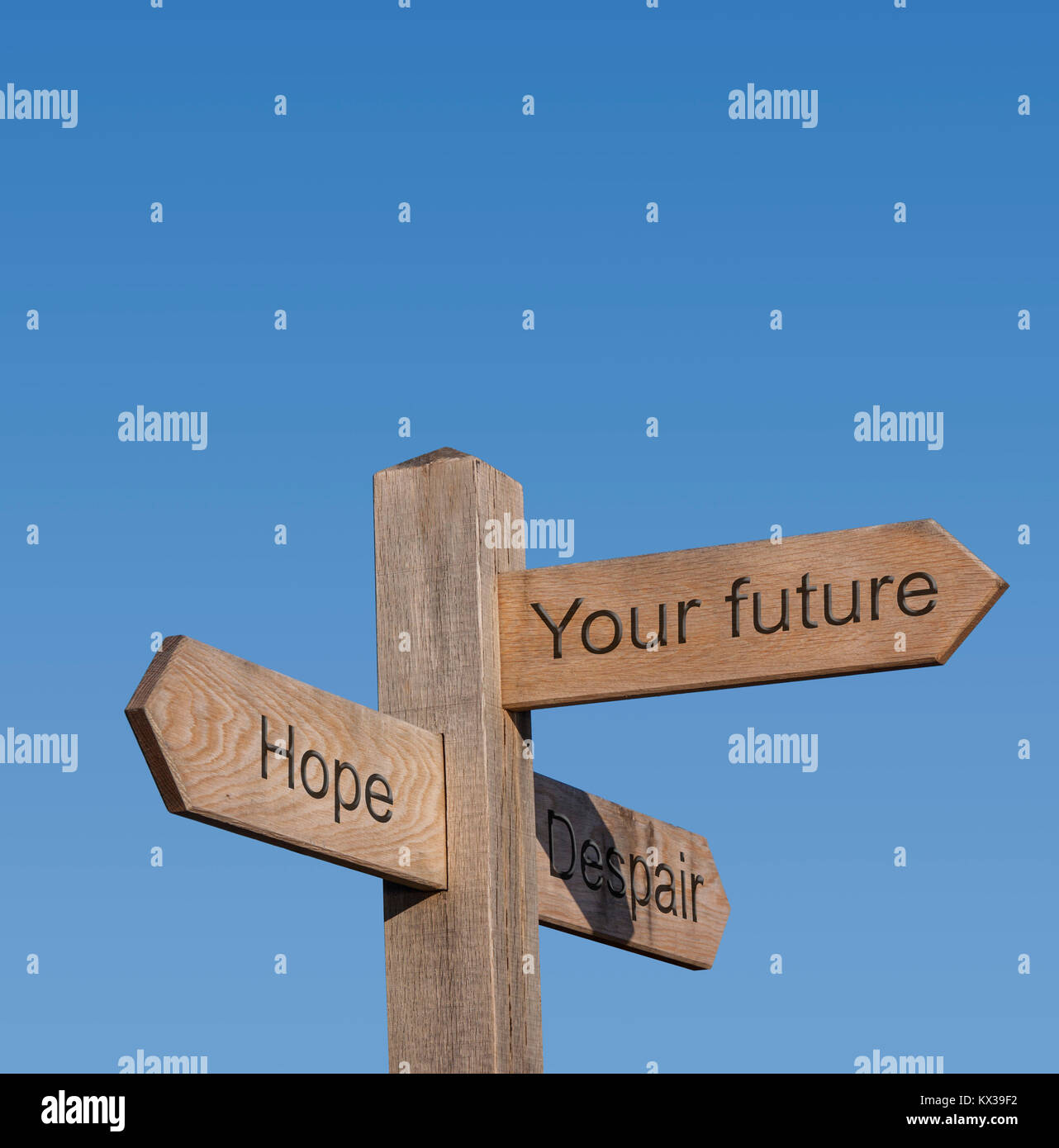 Signpost directions showing hope,despair,your futire. - Stock Image