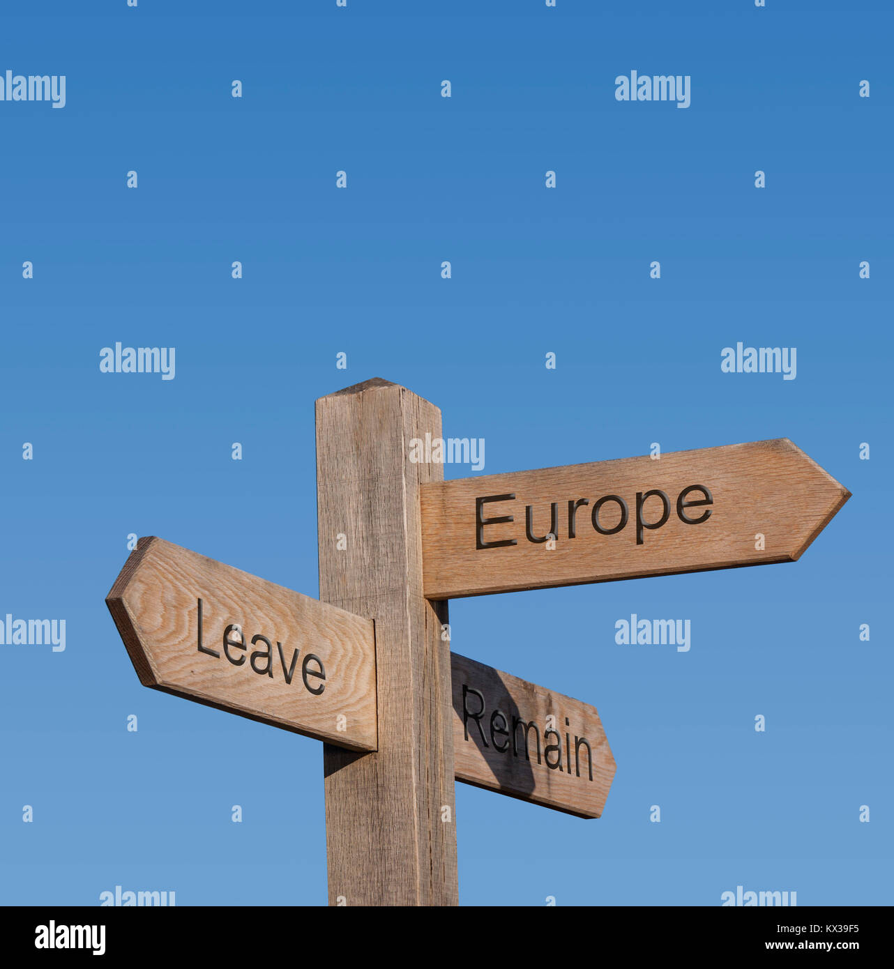 Signpost directions showing leave, remain, europe, brexit vote. - Stock Image