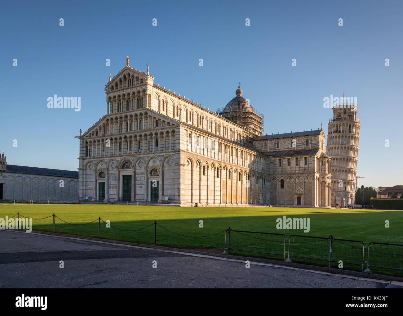 Pisa,Piazza dei Miracoli (Square of Miracles), with the Cathedral and the leaning tower, Unesco world heritage site,Italy. - Stock Image
