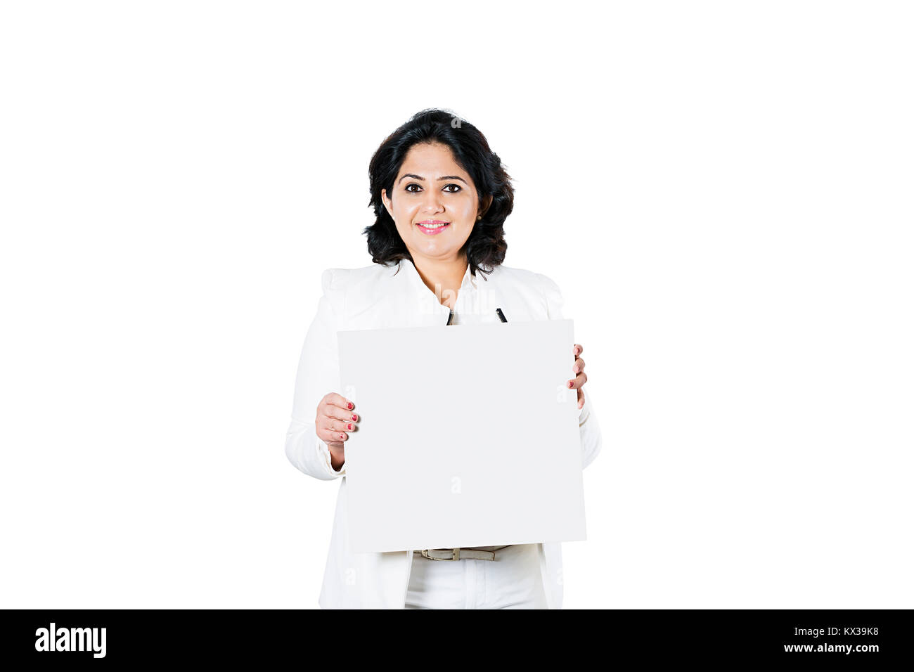 Indian Business Lady Employer Showing Message Baord - Stock Image