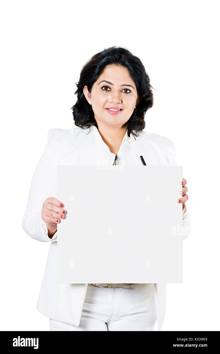 Indian Business Woman Manager Showing White Baord - Stock Image