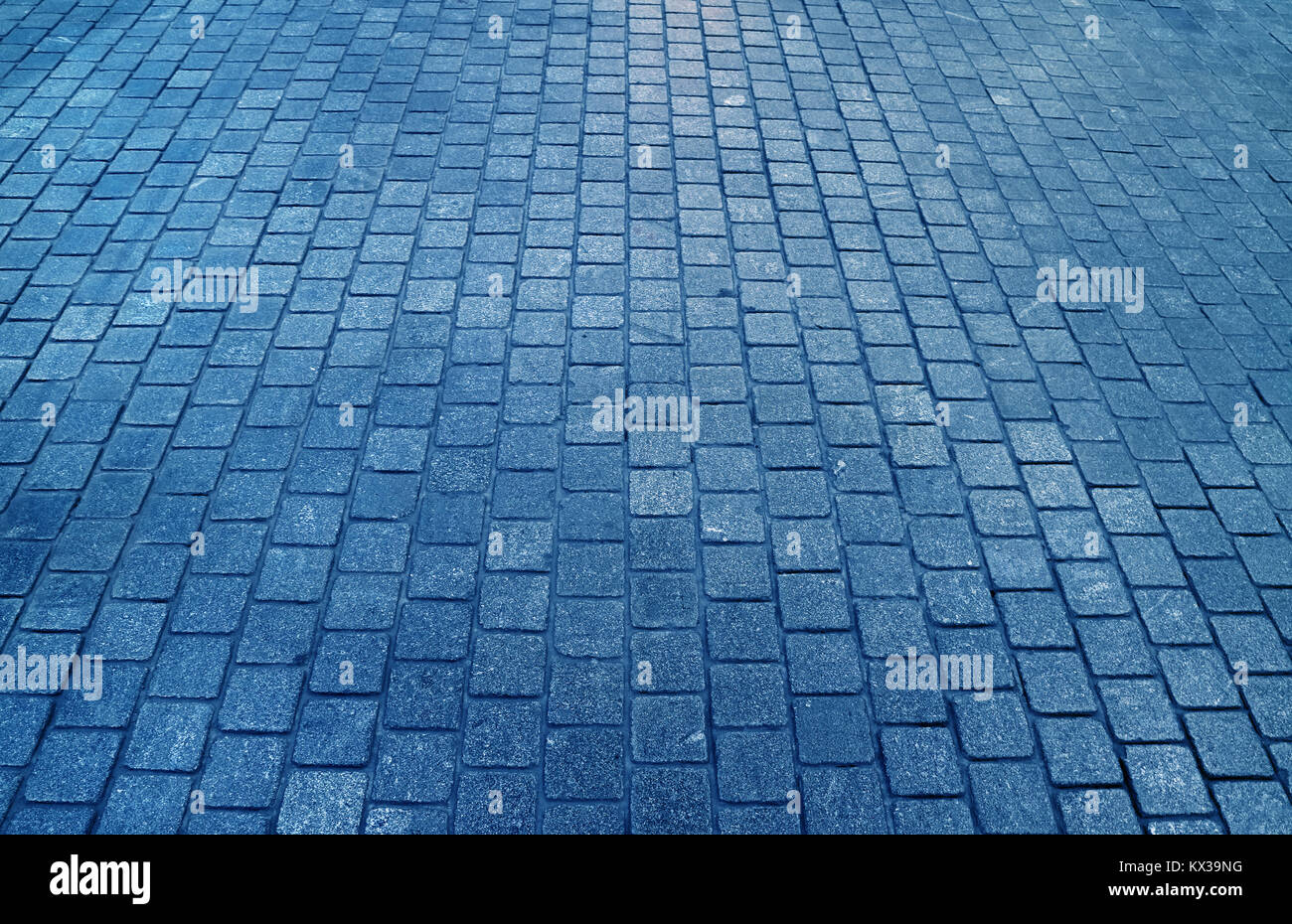 Concrete block paved walkway in blue color, for background, pattern - Stock Image
