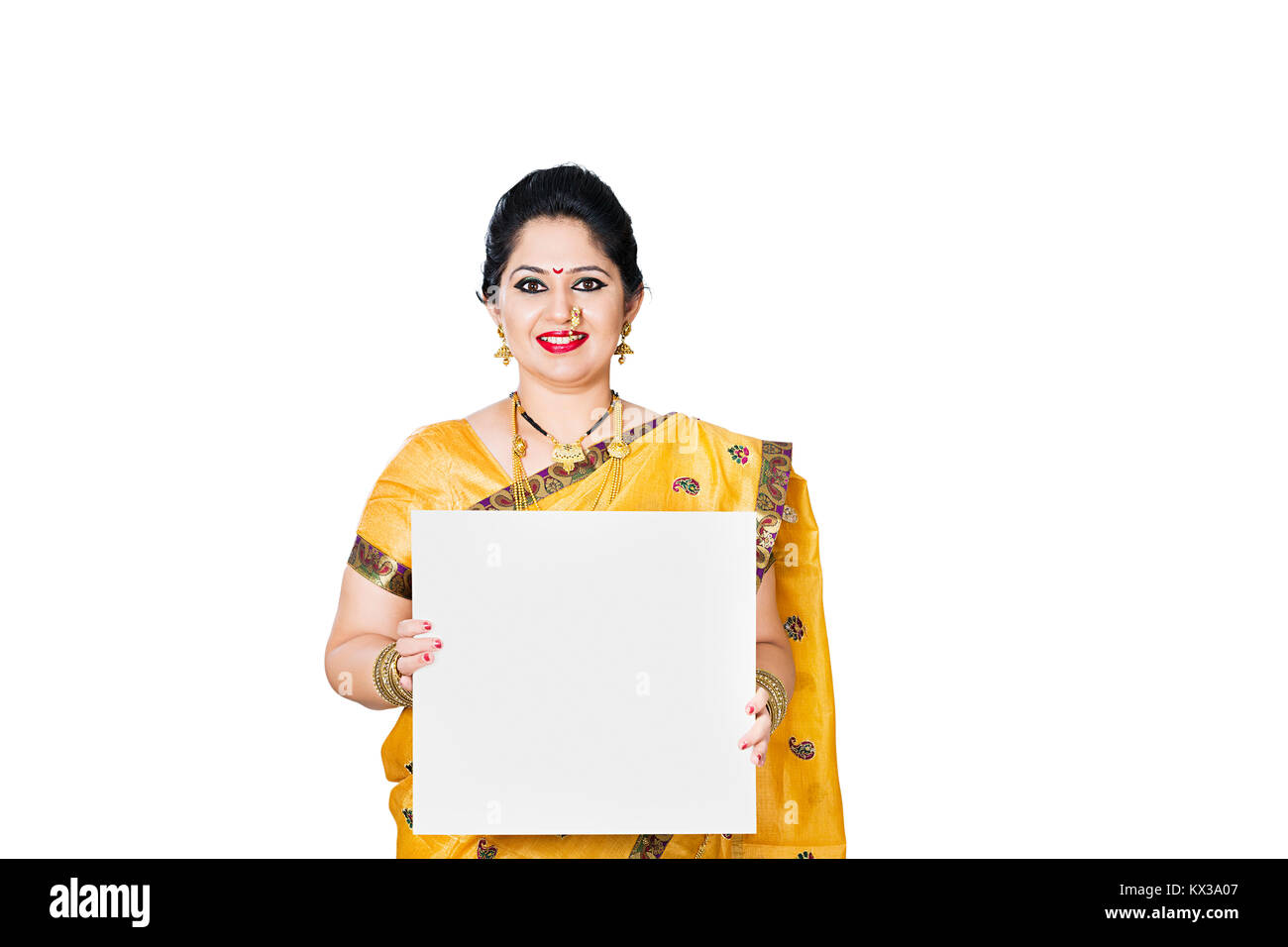 Indian Marathi Lady Housewife Showing Message Board - Stock Image