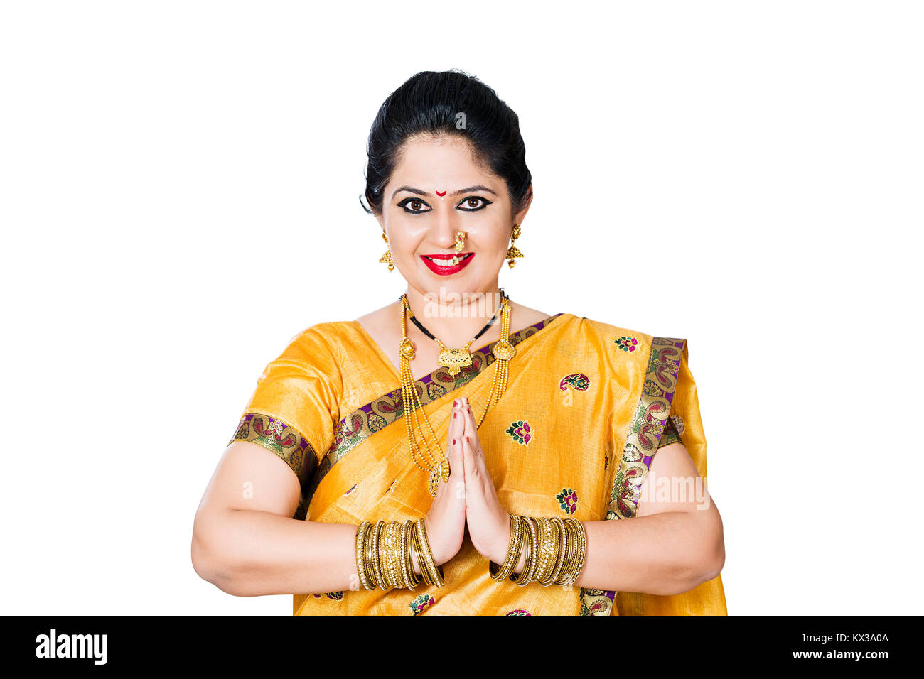 Indian Traditional Marathi Housewife Woman Joined Hands Namaste Welcome Stock Photo