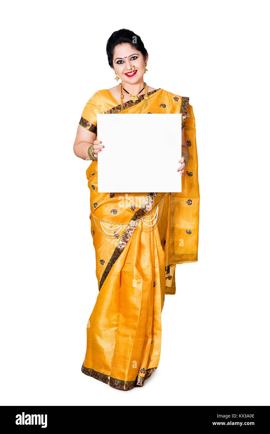 Indian Marathi Woman Showing Message Baord Diwali Shopping - Stock Image