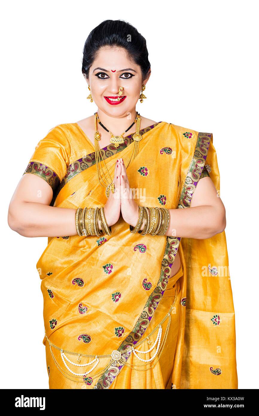 Indian Traditional Female Marathi Joined Hands Greeting Namaste - Stock Image