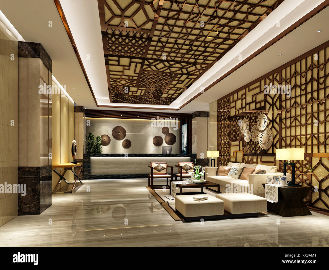 3d Render Of Luxury Hotel Reception And Lobby Stock Photo