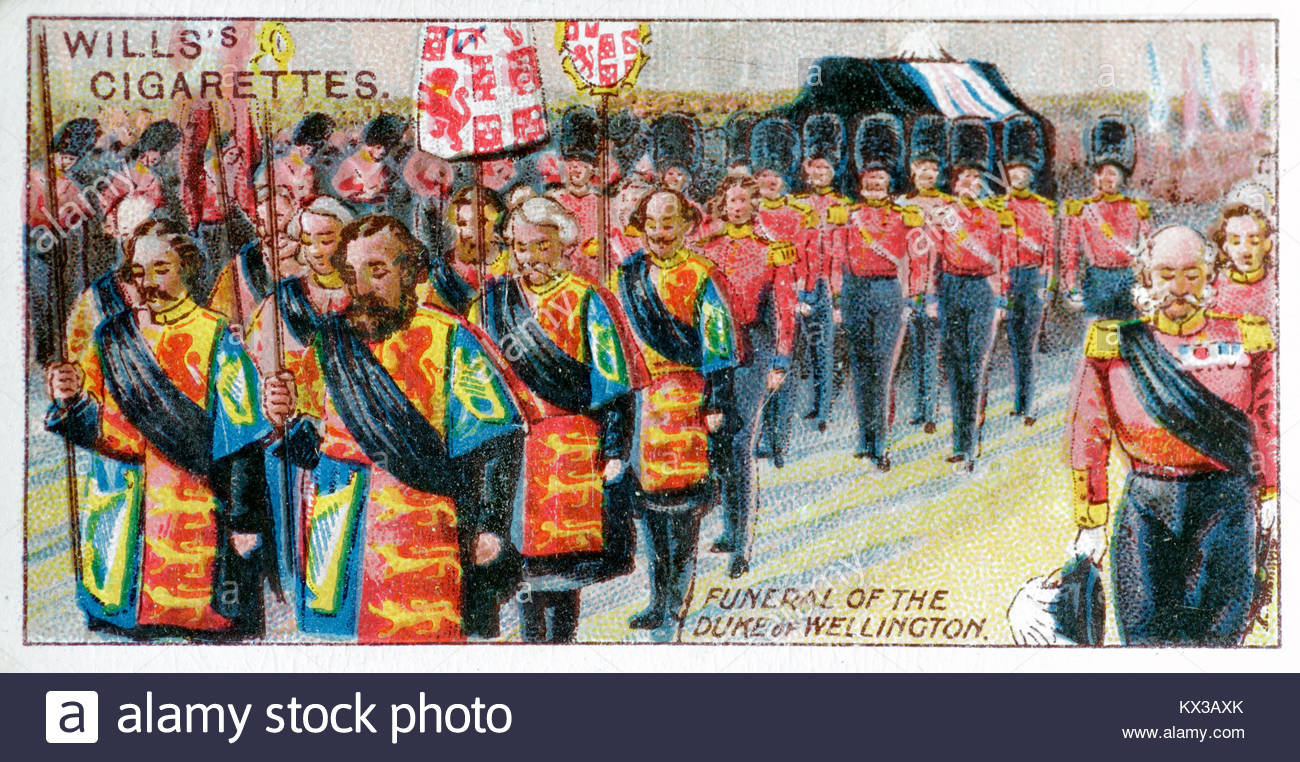 Depiction of the funeral of the Duke of Wellington 1852 - Stock Image