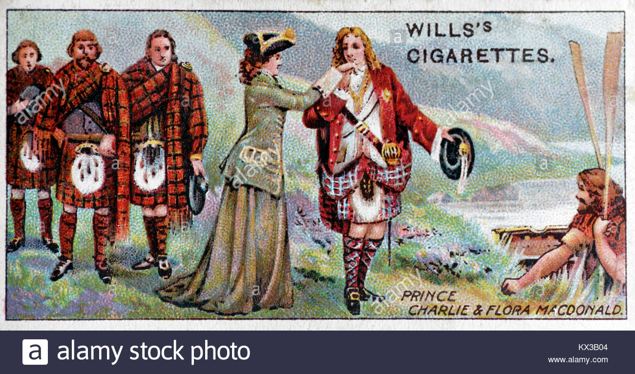Depiction of Prince Charlie  &  Flora Macdonald - Stock Image