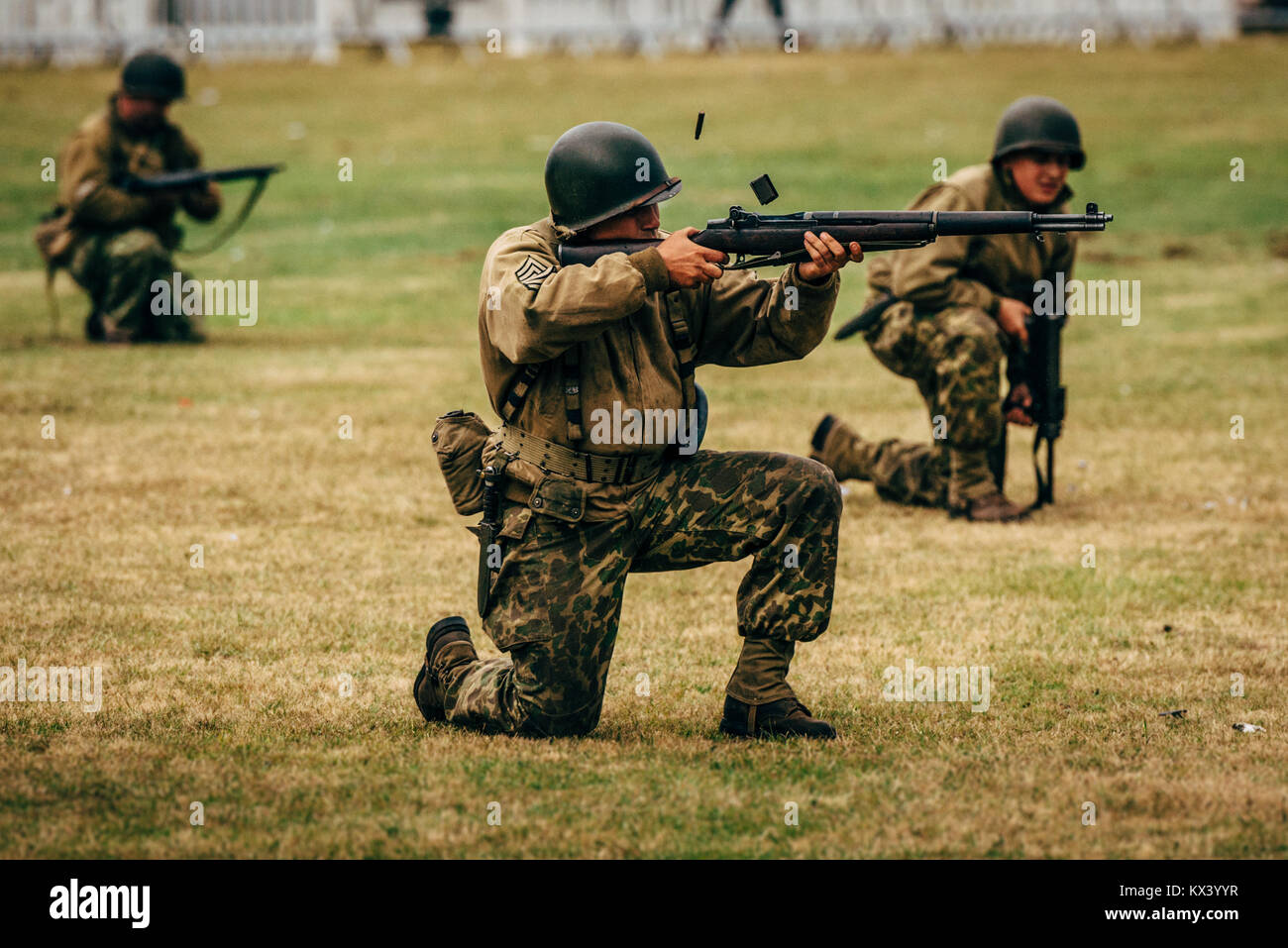 USA soldiers in ww2 reenactment Stock Photo: 170962171 - Alamy