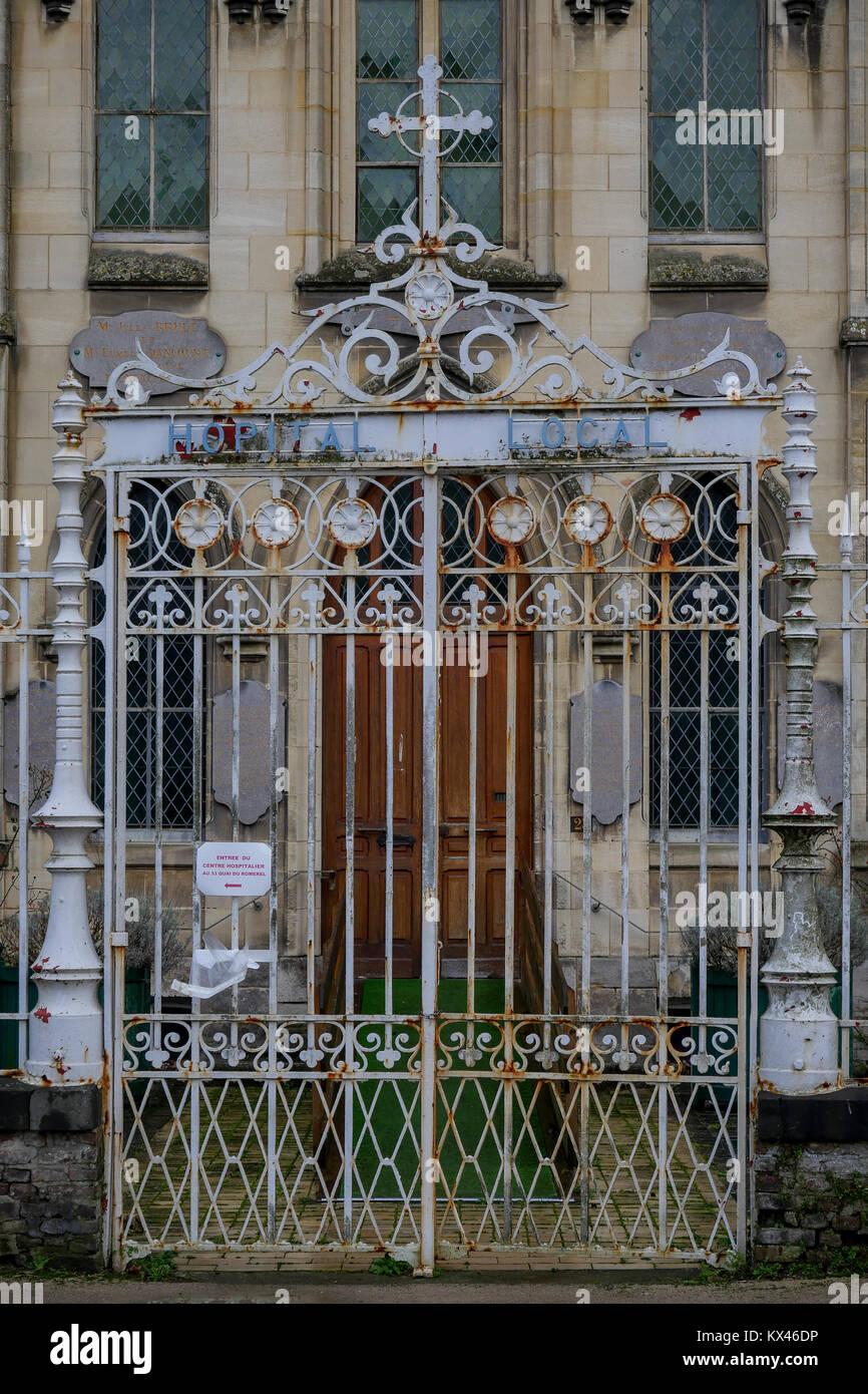 Local Hospital facade, Saint-Valery, Seine-Maritime, Normandy, France - Stock Image