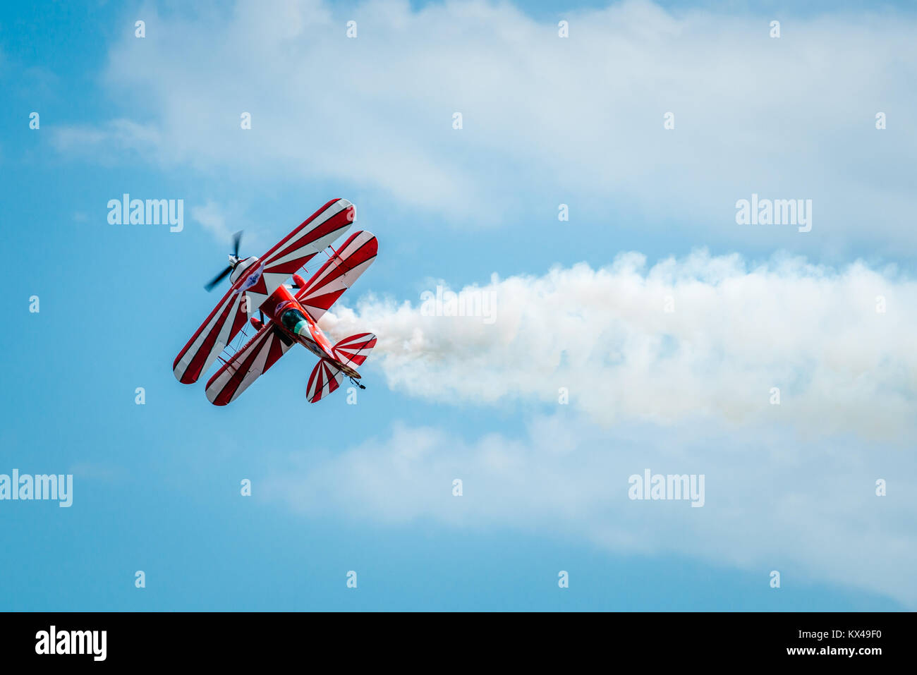 Richard Goodwin biplane during the Clacton Air Show - Stock Image