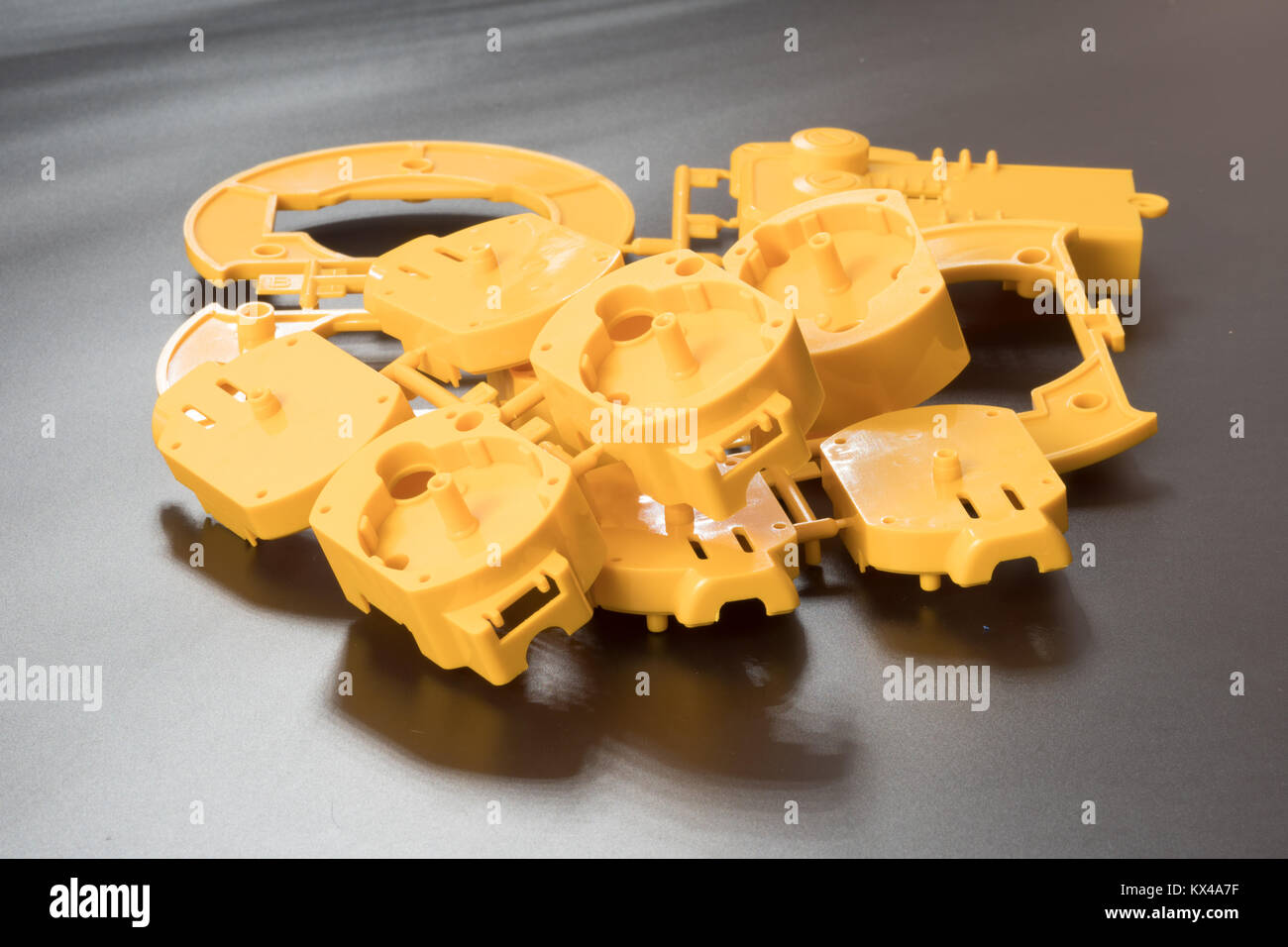Industrial injection molding press  the manufacture of plastic parts - Stock Image