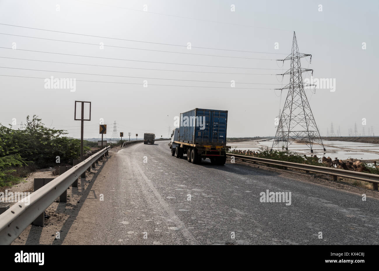 Container truck on Kutch Highway, Gujarat, India - Stock Image