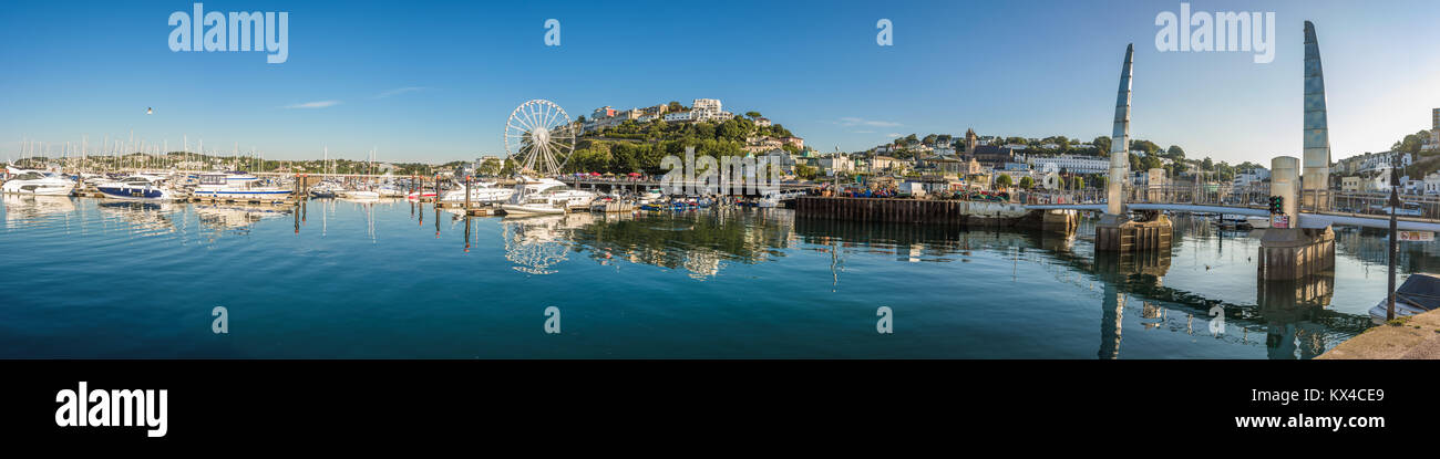 Morning view of Torquay from the Harbour, Panoramic view of the coastal town. Devon, England. August 2017 Stock Photo