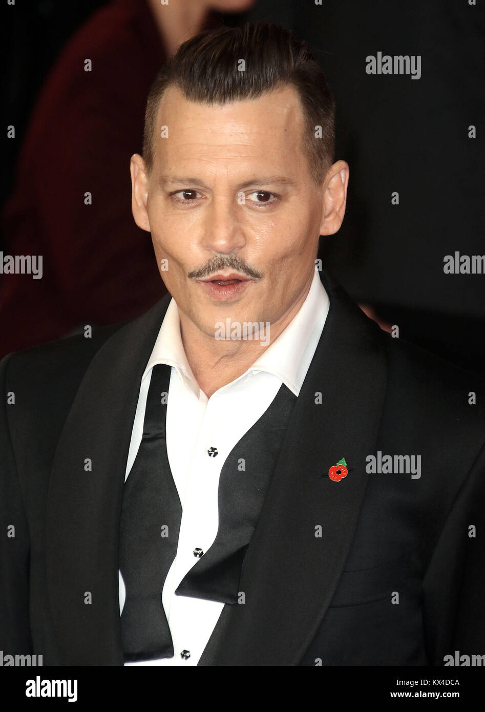 Nov 02, 2017 - Johnny Depp attending 'Murder On The Orient Express' World Premiere, Royal Albert Hall in - Stock Image