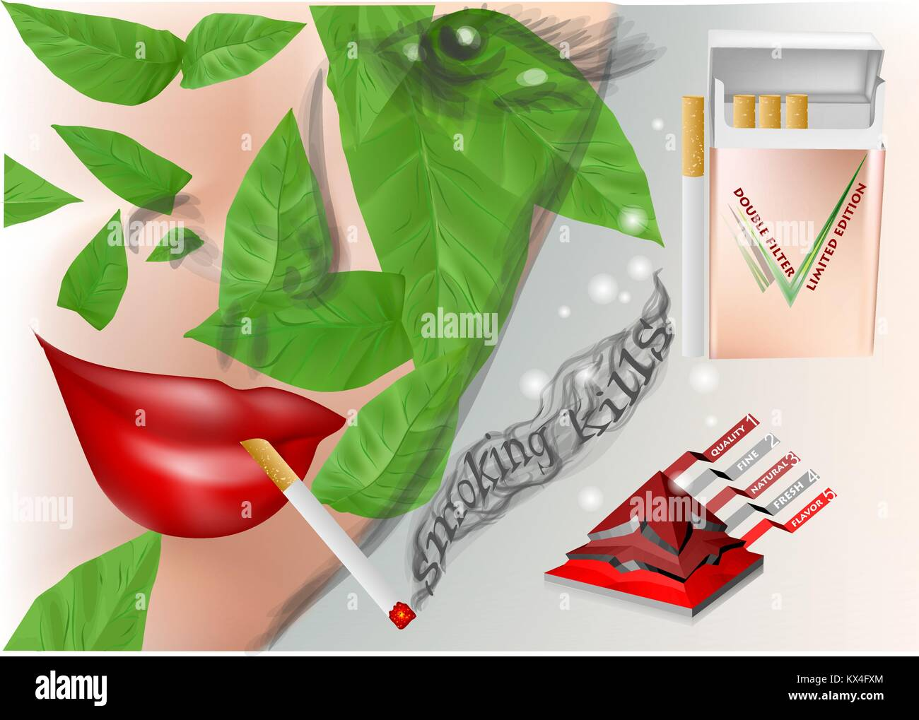 anti-tobacco advertising. woman with cigarette and tobacco leaves - Stock Vector