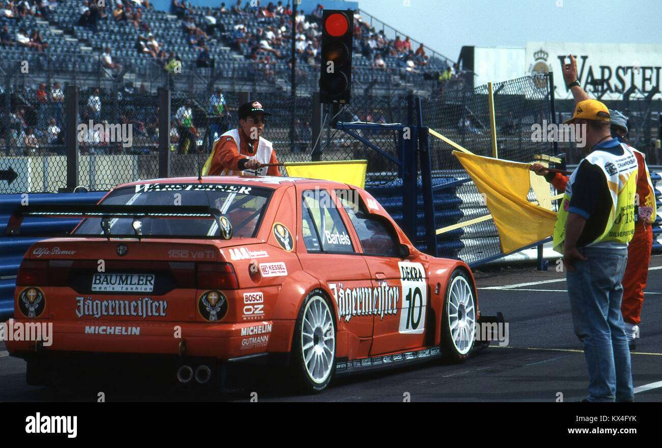 michael bartels alfa romeo 155 v6 ti leaving the pitlane stock photo 170974711 alamy. Black Bedroom Furniture Sets. Home Design Ideas