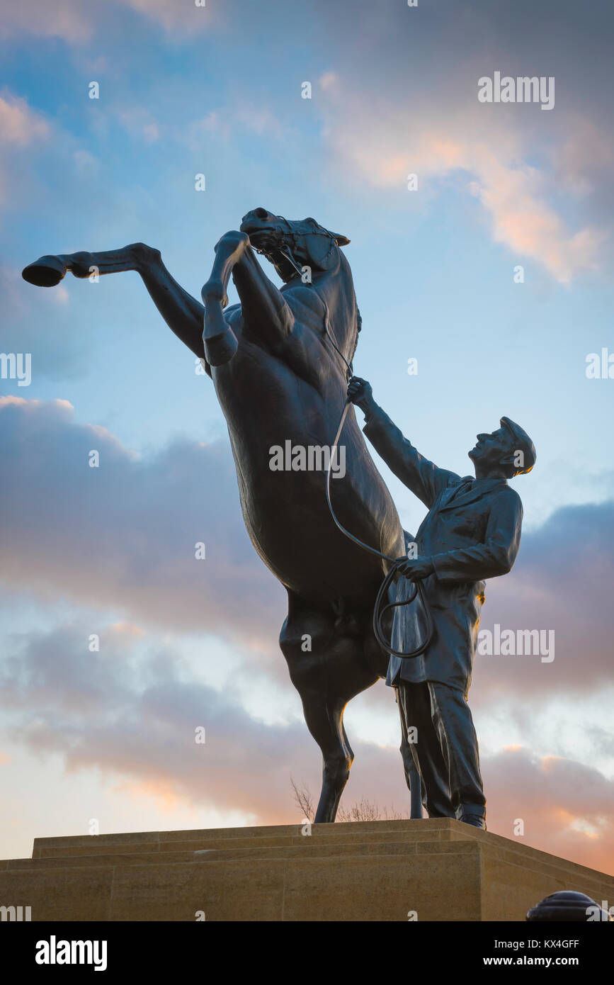 Newmarket Suffolk UK, the Newmarket Stallion statue, a striking landmark sited near the entrance to the famous Suffolk - Stock Image