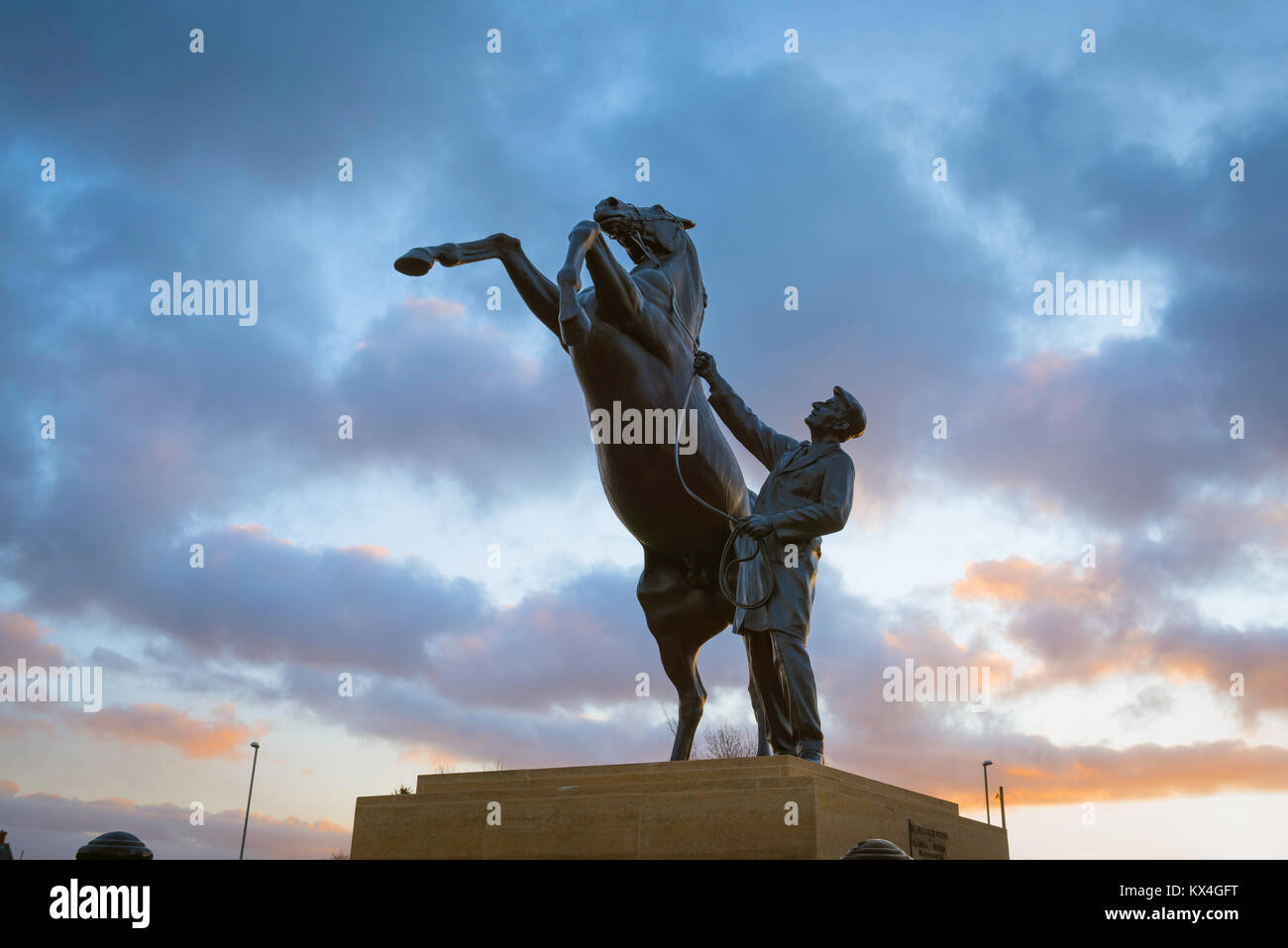 Newmarket racing Suffolk, the Newmarket Stallion statue - a striking landmark sited near the entrance to the famous - Stock Image