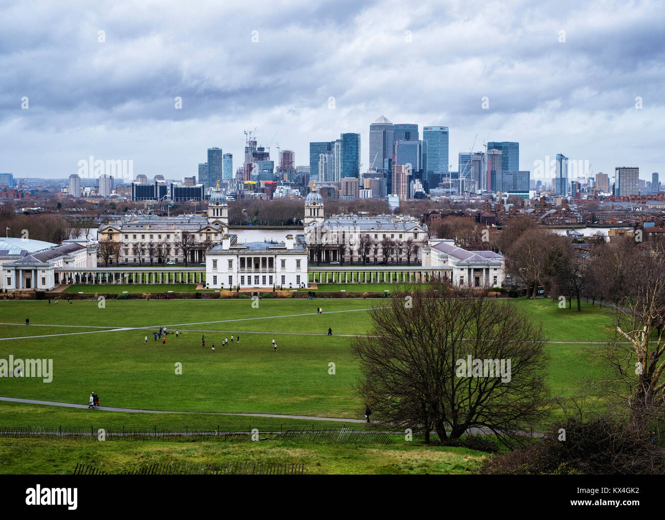 London, Greenwich.View from Greenwich Park,Old Royal Naval College, Queen's House & Canary Wharf Banks & - Stock Image