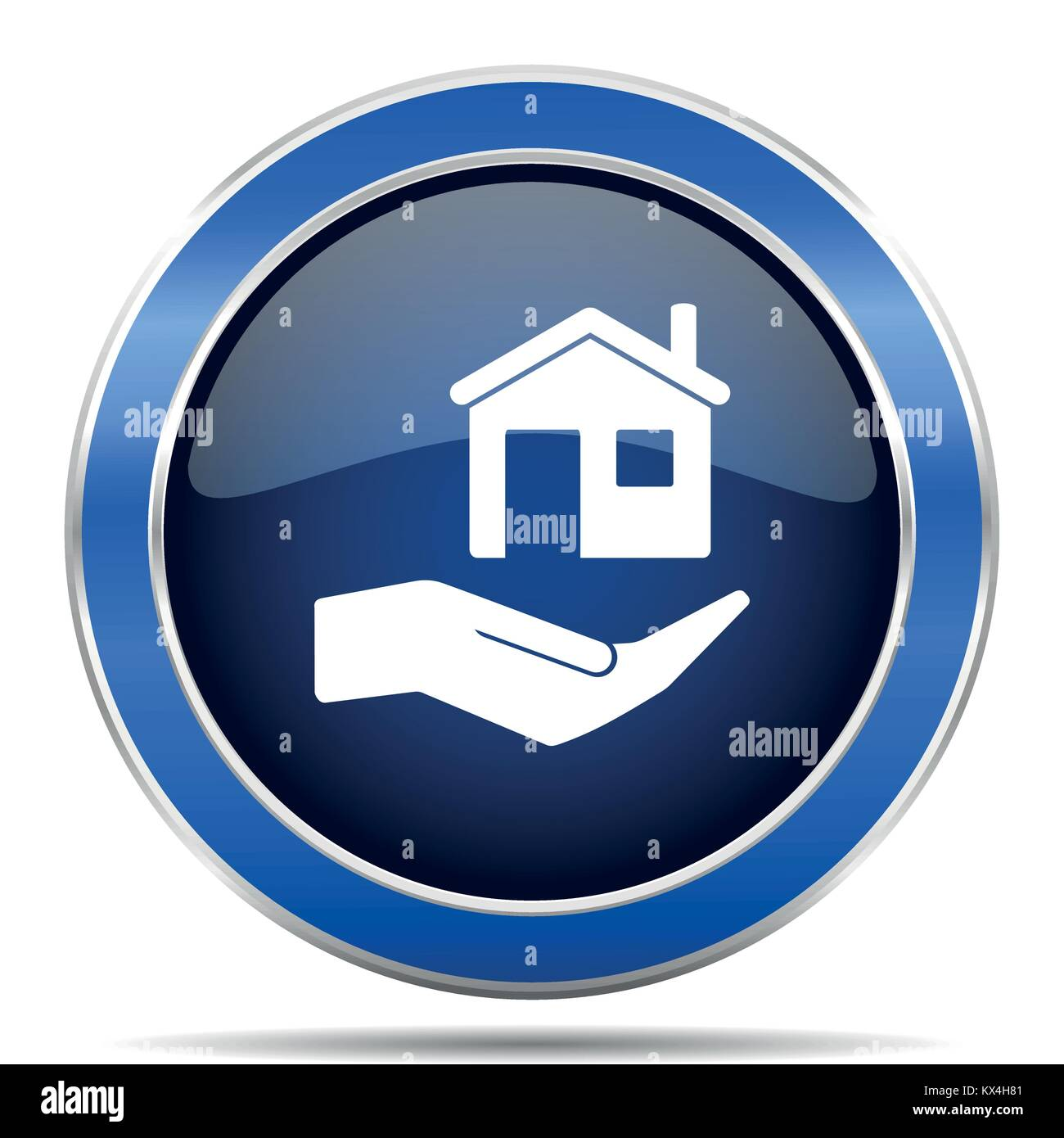 House care vector icon. Modern design blue silver metallic glossy web and mobile applications button in eps 10 - Stock Image